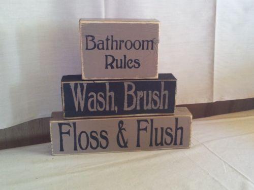 Primitive Decor Shelf Sitter Blocks Bathroom Rules Country | eBay