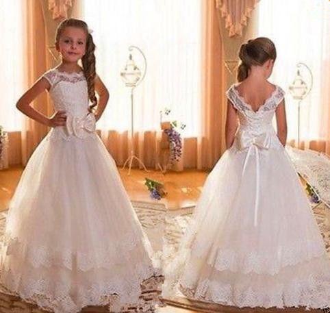New Cap Sleeve Backless do laço do marfim vestidos menina para casamentos 2016 arco andar de comprimento primeira comunhão vestidos para meninas