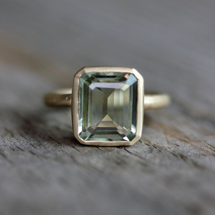 Emerald Cut Green Amethyst Ring, Prasiolite Ring in Recycled 14k Yellow Gold, Made in Your Size: Green Amethysts Rings, 14K Yellow, Yellow Gold, Prasiolite Rings, Emerald Cut, Cut Green, Recycle 14K, Emeralds Cut, Amethyst Rings
