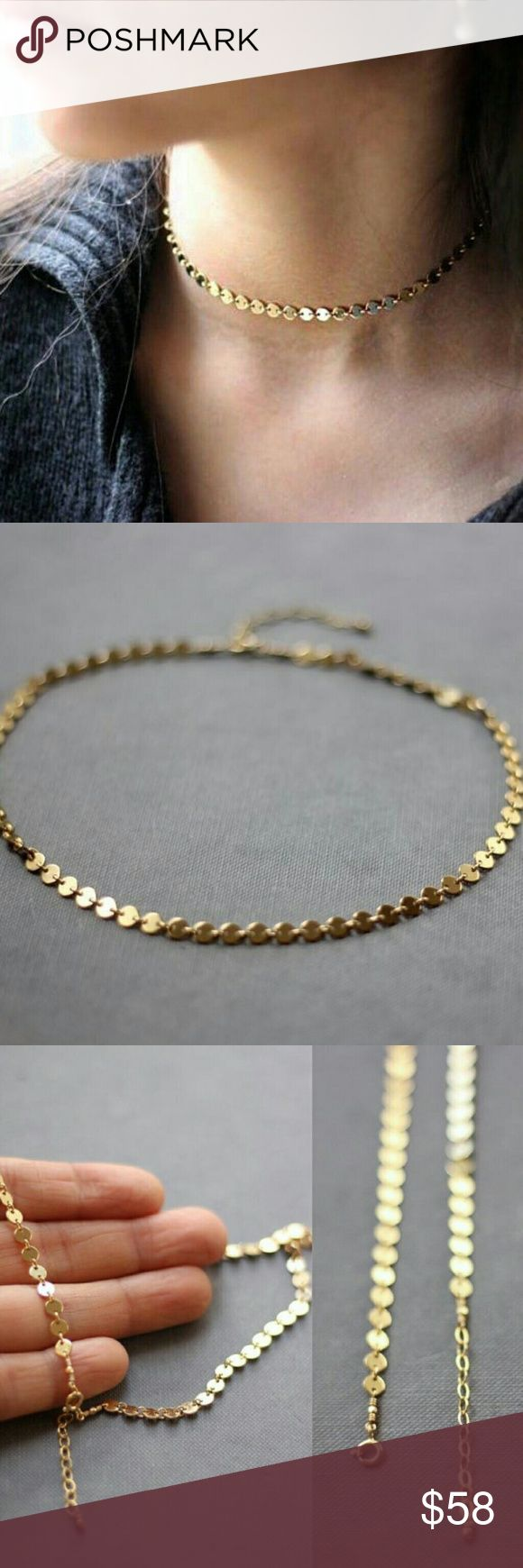 "High Quality 18K Gold Choker Necklace, Disc Choker High quality made entirely of 18k gold filled tiny discs choker, not plated. Hence it will not tarnish. 4mm discs linked together. Delicate, beautiful yet very sturdy. When choosing gold choker, i need it strong. Perfect layering necklace too.  This adjustable choker has a 1.5"" extension chain so you can adjust for a perfect fit. Boho and trendy tattoo choker, coin choker Gift for her Price is FIRM. It is good quality hamdmade Jewelry…"