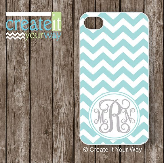 iPhone 5S Case - Personalzed iPhone Case with your custom colors, monogram or initial, Tiffany Blue Chevron with Gray Monogram