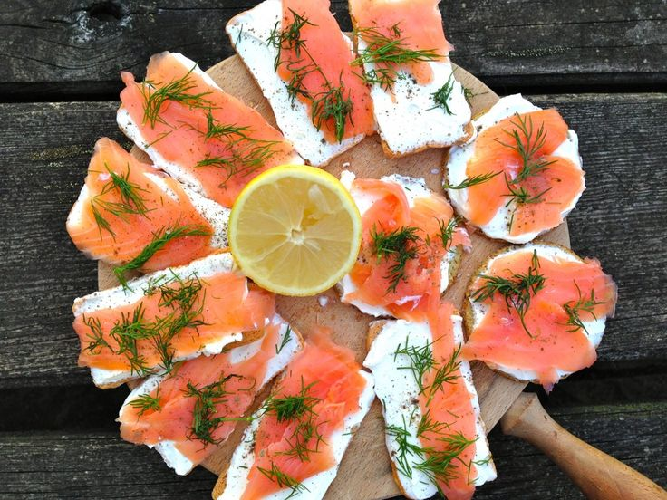 Smoked salmon blini canapés