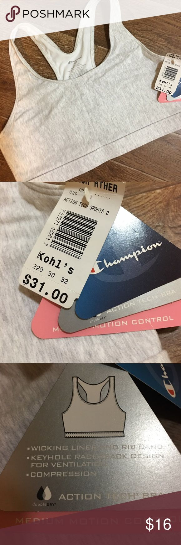 Champion - Heather Grey Sports Bra XL Champion brand heather gray sports bra, women size XL. NWT, with the tag price of $31. Please be sure to check out all of my other boutique items to bundle and save. Reasonable offers are considered! Same or next business day shipping guaranteed! Champion Intimates & Sleepwear Bras