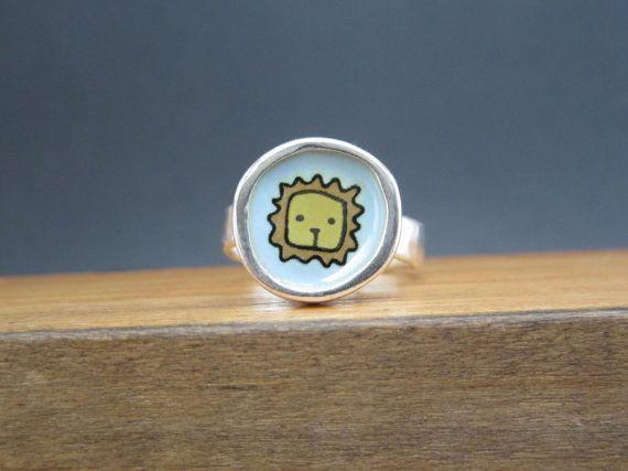 Leone anello argento e smalto vetroso anello con originale