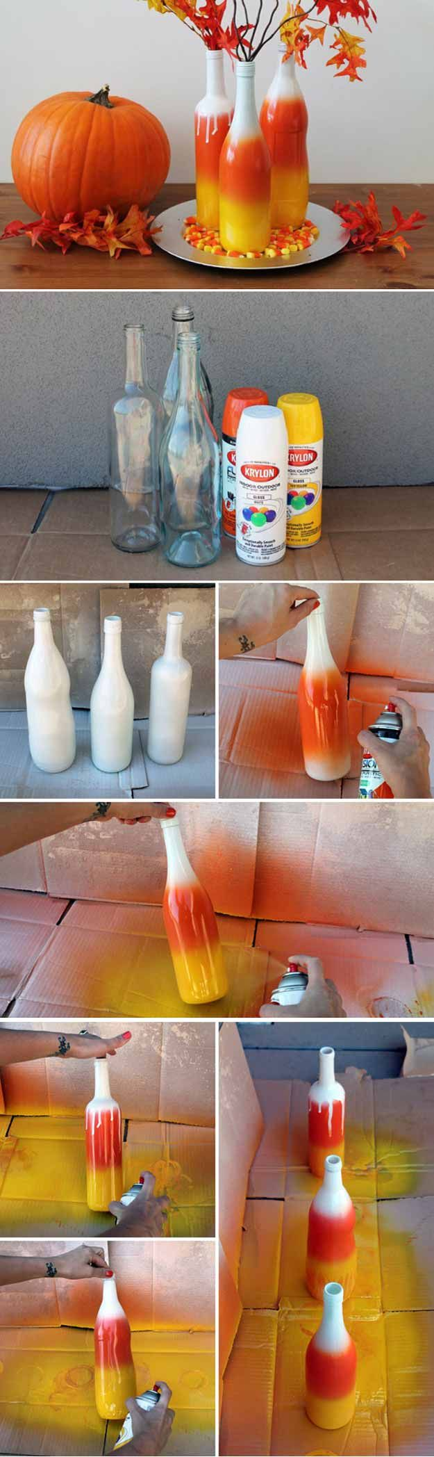 Ombre Wine Bottles | 15 Fall Decor DIY Projects