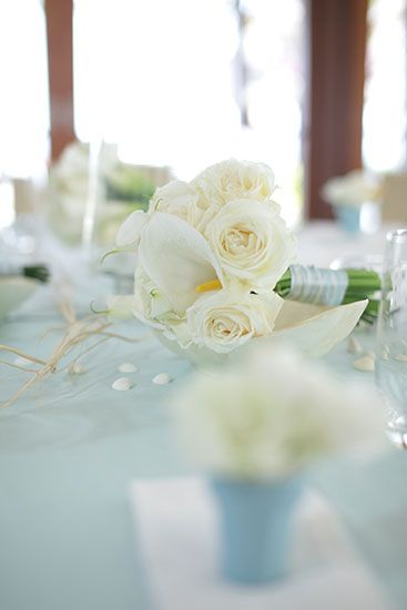 Baby Blue on Dinner Table by Tirtha Bridal Uluwatu Bali #wedding #bouquet