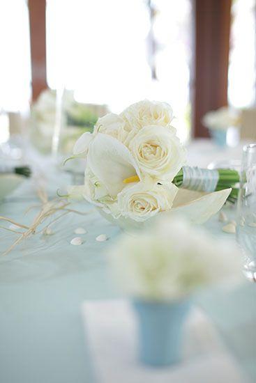 Baby Blue on Dinner Table by Tirtha Bridal Uluwatu Bali #wedding #bouquet