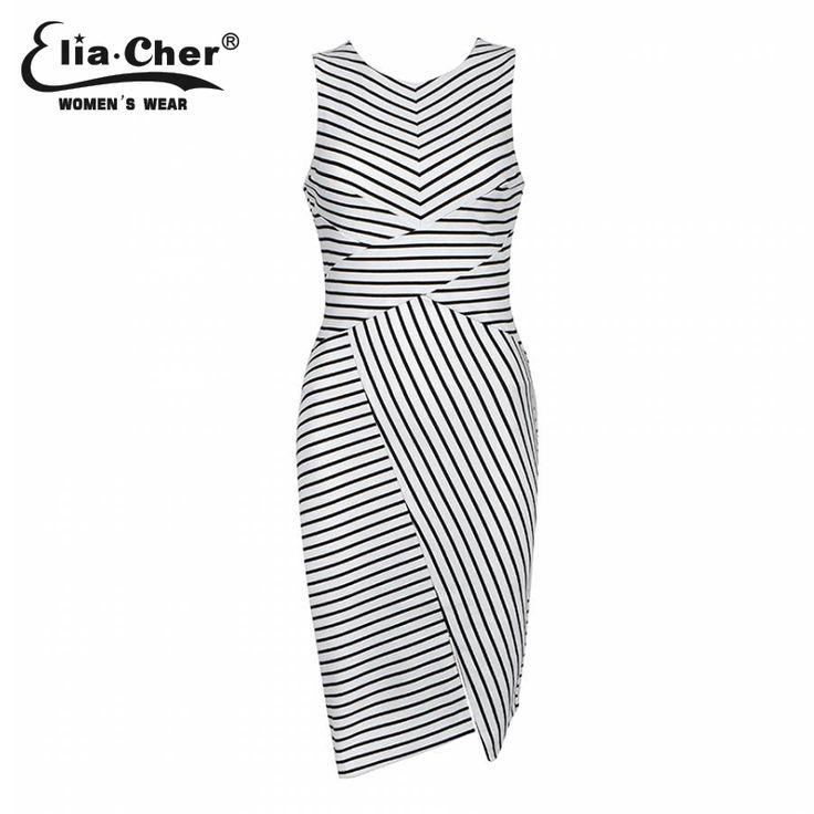 Купить Elia Cher бренд лето 2015,платье в черно белую полоску, стройнит,большой размер, женская повседневная одеждаи другие товары категории Платьяв магазине Elia cherнаAliExpress. одеёды в архиве и платье тройник