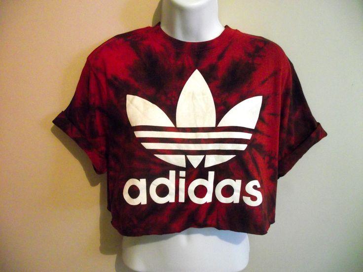 VINTAGE ADIDAS Crop Top T Shirt Blouse 90s Tie Dye Acid Trefoil Huff S 6 8 10