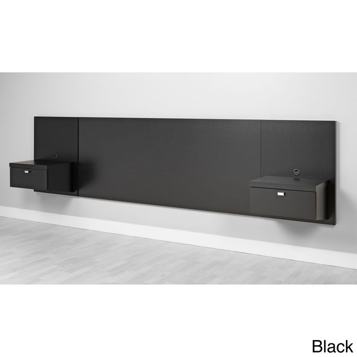 prepac valhalla designer series floating king headboard black finish