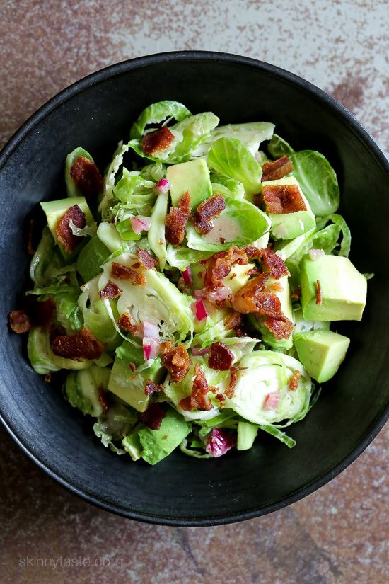 Shredded Raw Brussels Sprout Salad with Bacon and Avocado