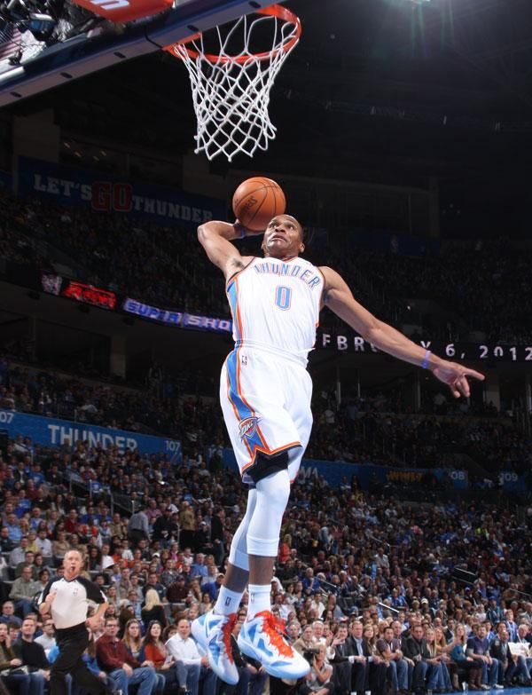 Russell Westbrook Dunk   Russell Westbrook slam dunks off a Thunder fast break.
