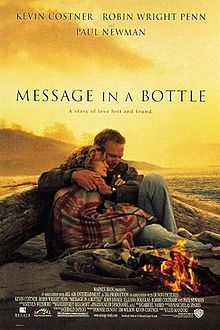 Kevin Costner and  Robin Wright Penn; Theresa Osborne works for The Chicago Tribune as a researcher (she is a former reporter). On a trip to Cape Cod, she finds a mysterious, intriguing love letter in a bottle in the sand, addressed from Garret to Catherine. She is fascinated by it and comes into possession of two more letters by the same person, eventually tracking down the man who wrote them, Garret Blake. He has refurbished a boat  and he lives quietly on the outer banks of North Carolina