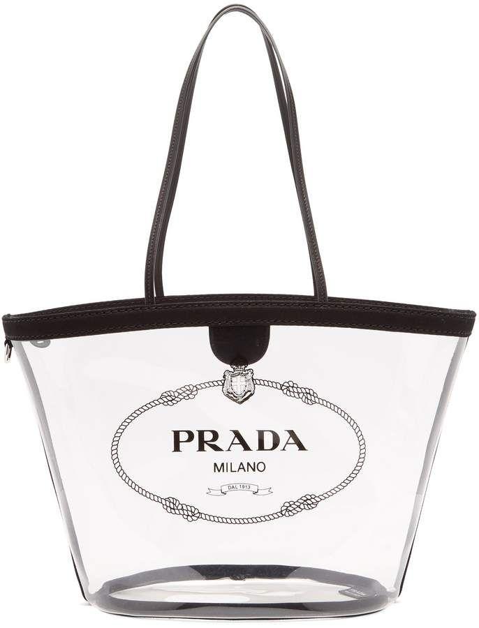 120bcab0ef18 On trend clear plastic handbags, PRADA Logo-print clear PVC tote, #ad