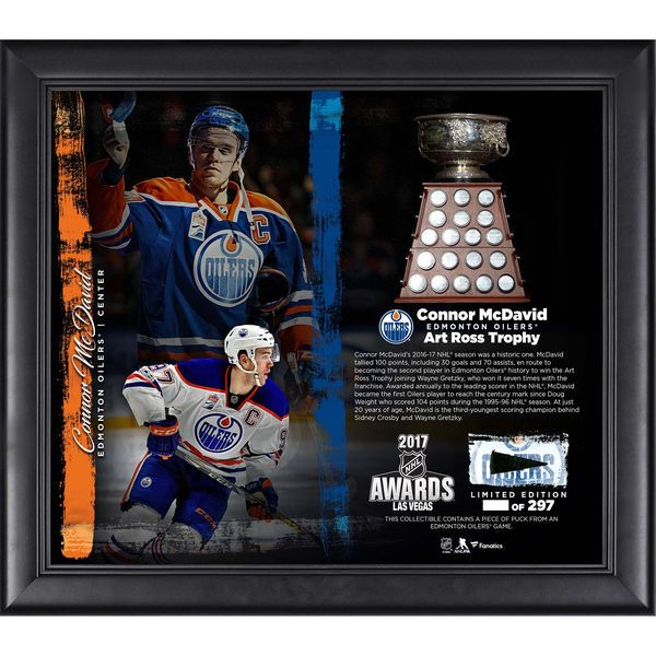 "Connor McDavid Edmonton Oilers Fanatics Authentic Framed 15"" x 17"" 2017 Art Ross Trophy Winner Collage with a Piece of Game-Used Puck - Limited Edition of 297 - $89.99"