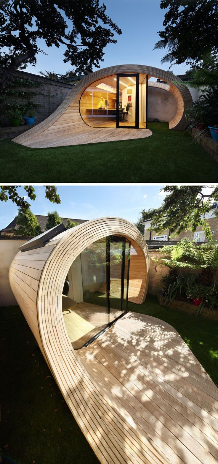 This sculptural backyard structure is made from wood panels that curve around each other to create a backyard office as well as a storage space for extra garden things.