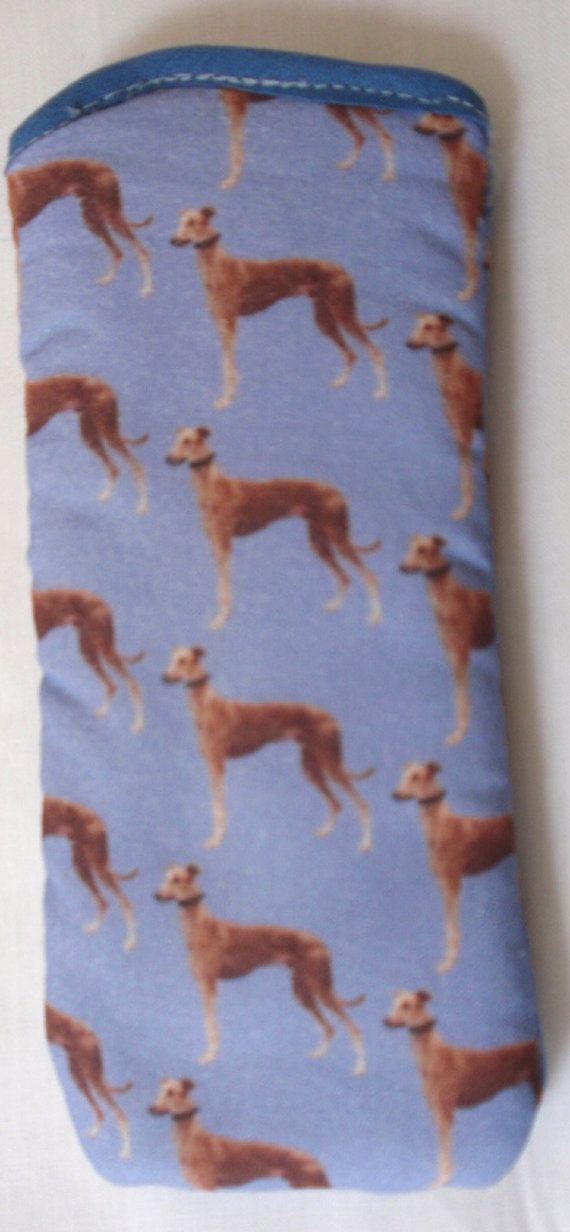 These are an unusual item, hand made glasses cases with a design of Greyhounds all over light blue. They have a quilted lining to protect your