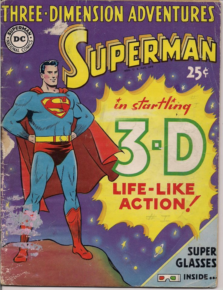 DC Comics,1953,3D, Three Dimension Adventures of SUPERMAN, Jerry Siegel,Curt Swan,Wayne Boring,National Periodical Publications,with glasses