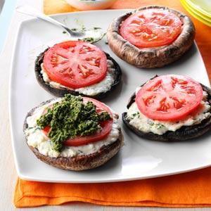Ricotta-Stuffed Portobello Mushrooms, idea for burger toppings