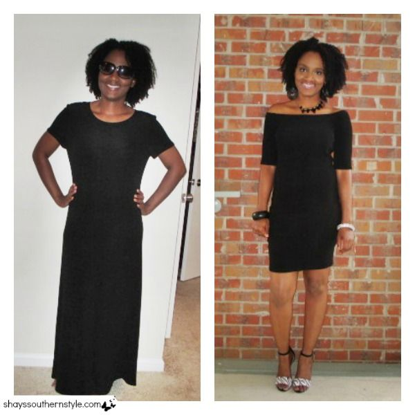 Thrift store refashion: off the shoulder midi dress