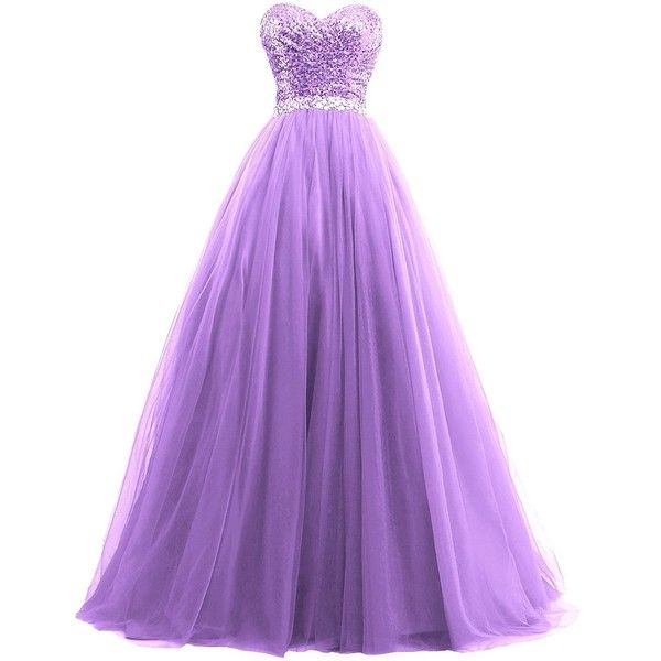 Lowime Women's Ball Gown Tulle Quinceanera Dresses 2016 Prom Gowns (130 CAD) ❤ liked on Polyvore featuring dresses, gowns, purple tulle dress, tulle dress, purple gown, purple evening gowns and quinceanera gowns