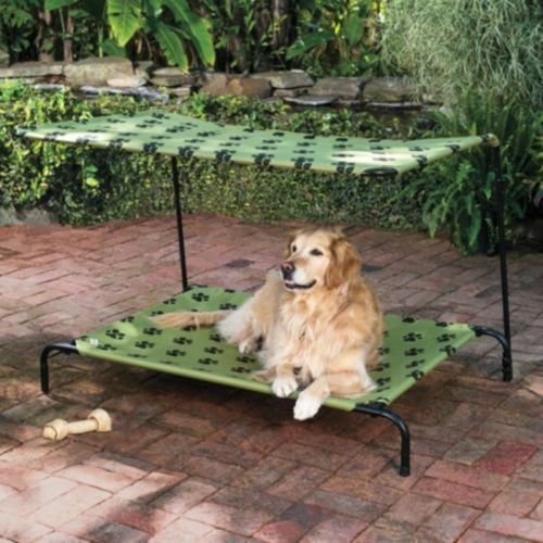 Elevated Pet Bed With Shade Cover Large Dog Portable Bed