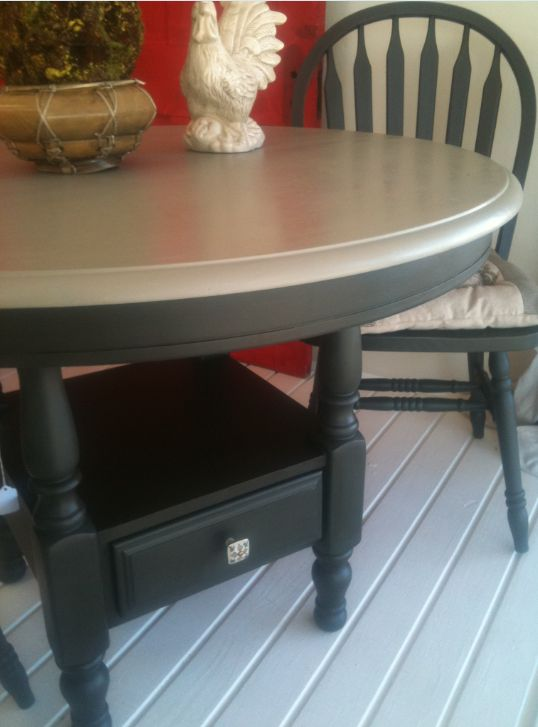 Round Kitchen Table and Chairs: Basically to get this look, I painted the base with Annie Sloan Graphite and the top with French Linen.  Then using Annie Sloan Dark Wax I sealed the base and Clear Waxed the top.