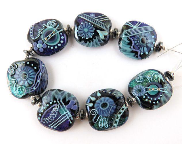 lampwork beads glass beads eye candy moogin beads autumnal batik round bead set
