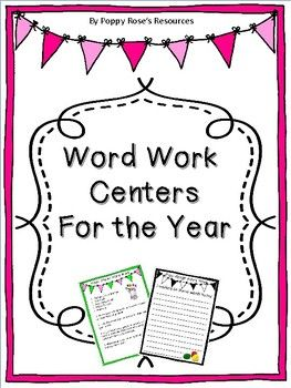 These word work centers are designed to be used as a staple for the entire year. There are 8 centers with blank word  list for you to customize to suit your individual word lists. This set contains-8 center direction cards with iphones, keyboards, and rainbow pages to copy and laminate for the students.-A student word work journal which when placed in a duo-tang can be added to as needed.All you need to supply are the crayons, markers, white boards (which can be made by laminating white…