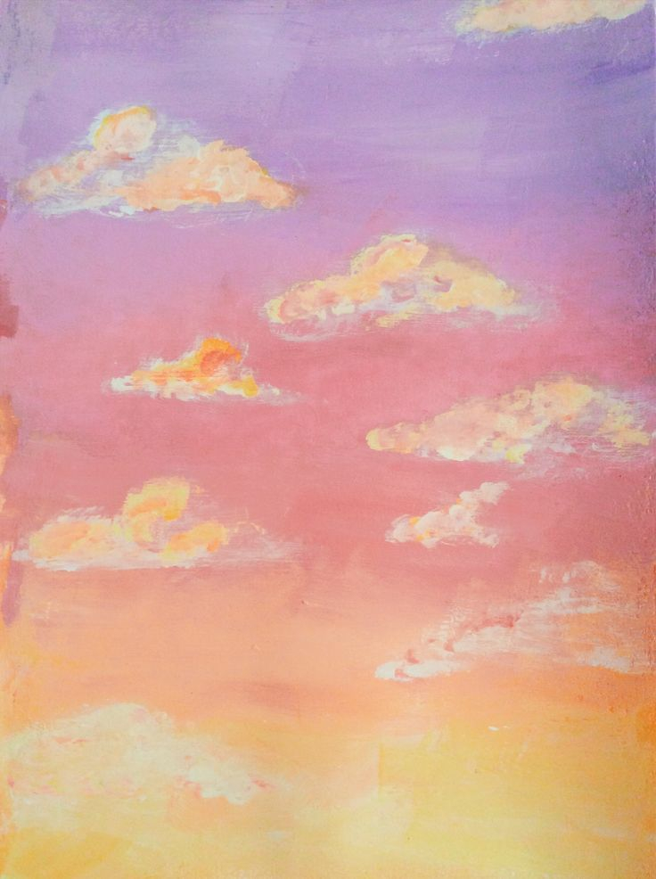 Pink Sky In 2020 Sky Art Painting Cloud Painting Sunset Canvas Painting