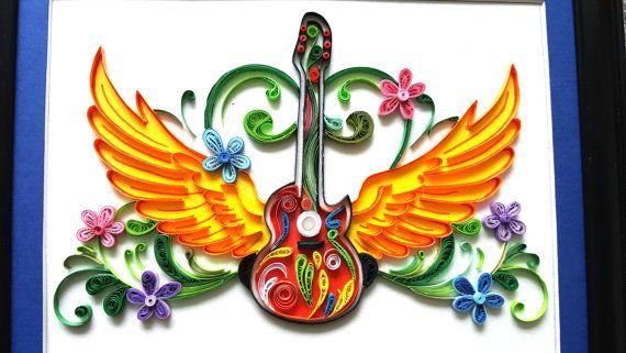 Бумага гофрированный гитара работа |  рюш гитара |  гитара декор |  Любители гитары подарок |  гитара подарки |  гитара декор стен |  музыкальное искусство |  гитара