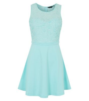 Mint Green 2 in 1 Guipure Lace Skater Dress