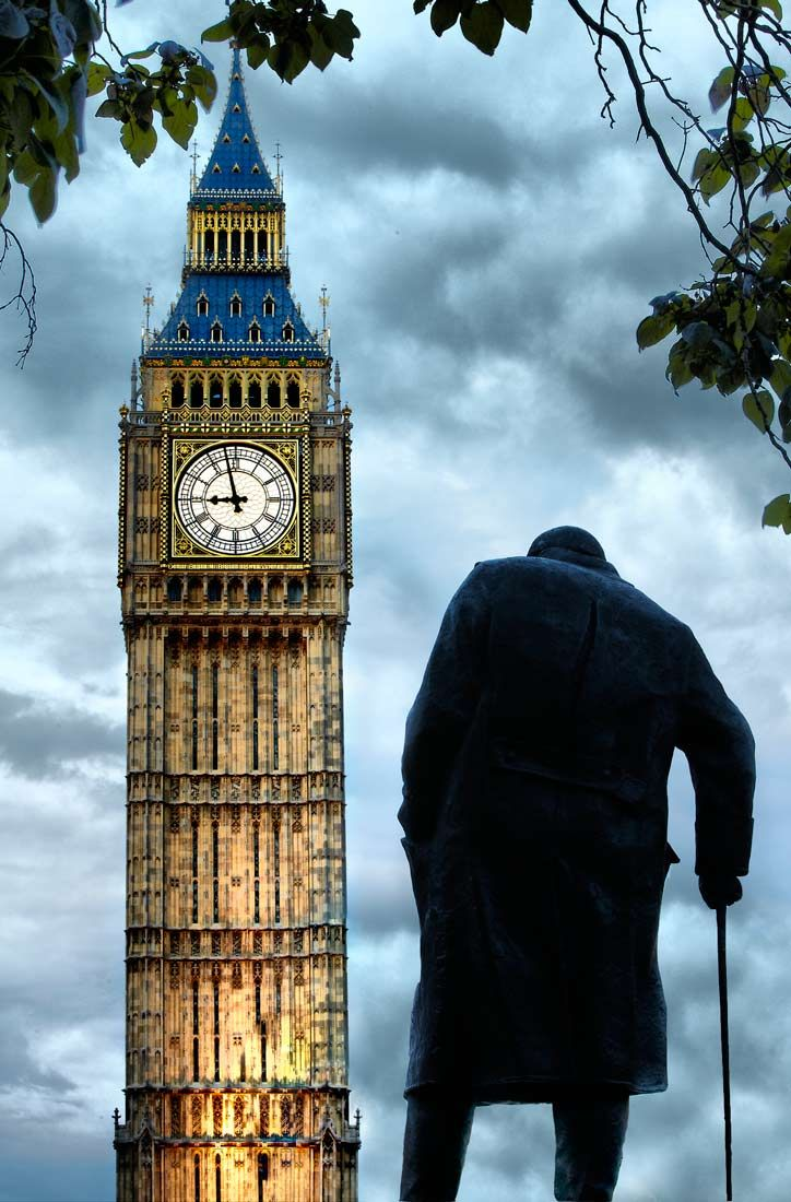 Churchill statue with Big Ben Info on Sightseeing in #london here http://www.a-london-guide.com/big-ben  #RePin by AT Social Media Marketing - Pinterest Marketing Specialists ATSocialMedia.co.uk