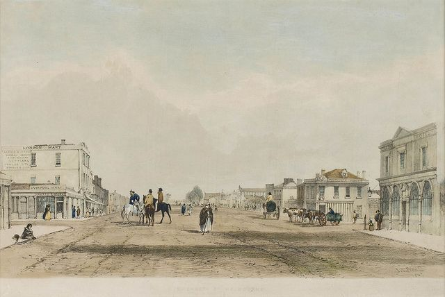 John Skinner Prout  Elizabeth Street, Melbourne 1847  lithograph and watercolour  22.5 x 35.6 cm (image)  The University of Melbourne Art Collection.