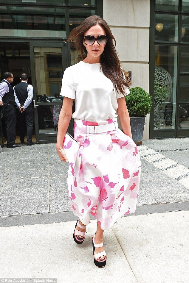 Flower power: Victoria Beckham looked the epitome of elegance in New York on June 4, 2015