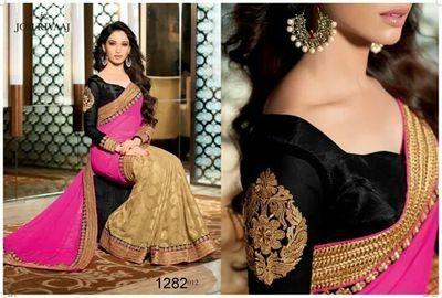 Bollywood Replica Saree Tamanna Pink Designer Saree: Nfs1282 Bollywood Sarees