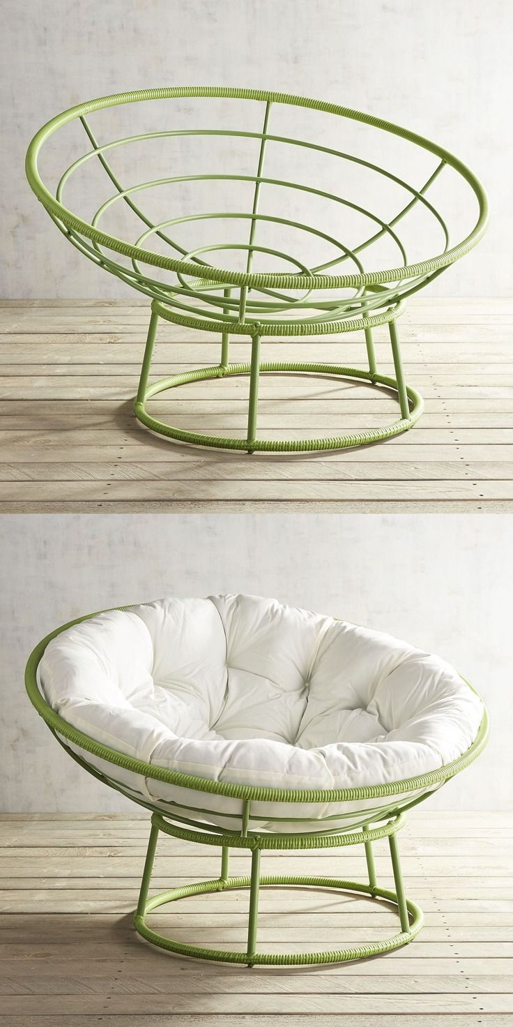 Pier 1's iconic Papasan goes green for a bright pop of colorful fun. Handcrafted of all-weather wicker over a wrought iron frame, it plays outdoors as well as in.