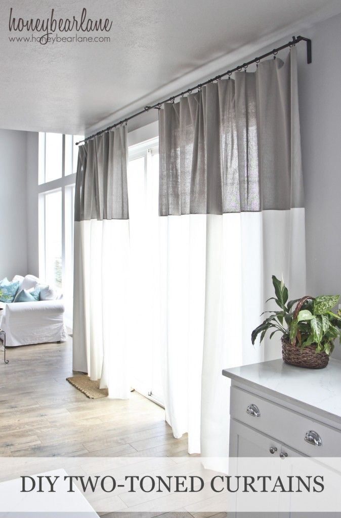 DIY Two Toned Curtains - a great idea for the home and could be used in a kitchen, office, or a bedroom even! This tutorial makes it super simple to make them!