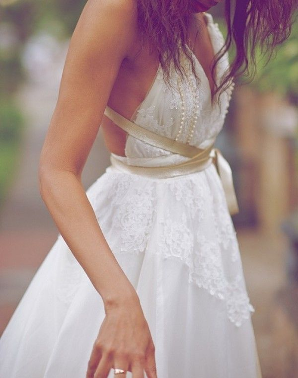 Wedding dress with accent, Gold belt on dress, Whimsical wedding dress