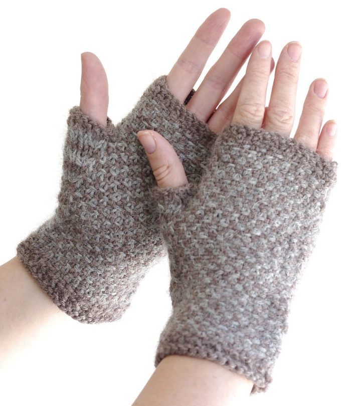 Free Knitting Pattern for Linen Stitch Mitts - Fingerless mitts knit in 2 colors. Also great for variegated yarn. Small Medium,Large. Designed by Nyss Parkes