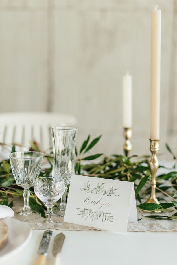 This printable card is part of the Olive collection. Olive branch pattern play and a sloping grey font combine to bring a touch of earthy romance to your occasion.