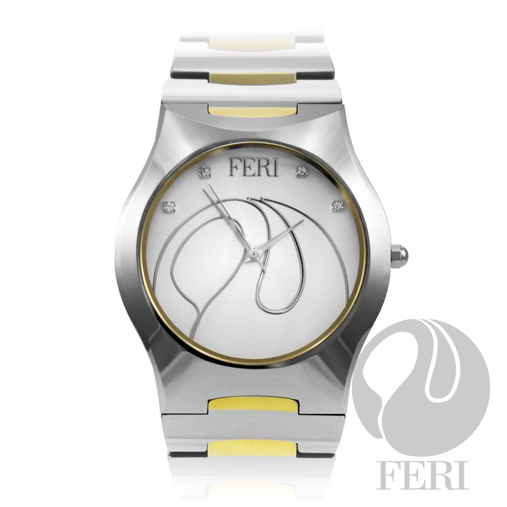 "FERI Emilio - Watch - Tungsten construction watch in two-tone  - Set with AAA cubic zirconia - Features sapphire crystal - Swiss movement - 10 ATM water resistance - Scratch resistant - 3 year limited manufacturer warranty - Face Dimension: 32mm x 32mm - Band Width: 18mm - Band Length: 8""  Invest with confidence in FERI Designer Lines"