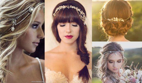 Coafuri de mireasa - inspiratie anii 20, cu bijuterii in par