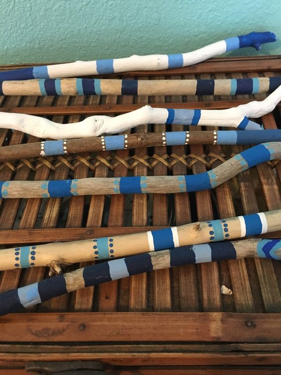 Driftwood painted sticks by LivingLikeLexie on Etsy