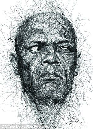 Samuel L. Jackson scribble portrait is a pencil drawing although it looks as if there were three or fore different colours in but actually its the use of tone with the pencil