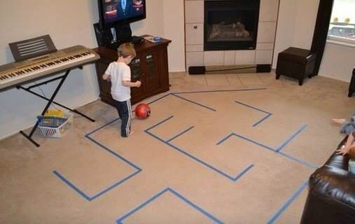 "Having a child go through an ""obstacle course"" can help with praxis skills because the child needs to stop and turn at appropriate times. Adding a ball that they need to control as well can grade the activity up."