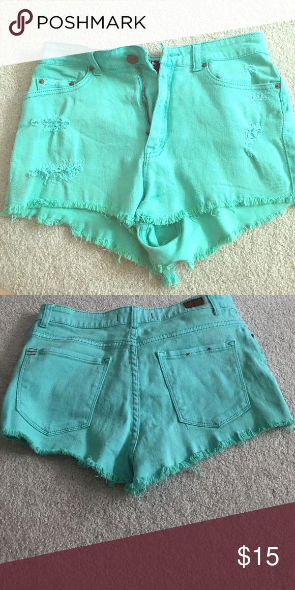 High rise cheeky teal shorts High waisted  teal shorts with fringe cut off BDG Shorts Jean Shorts