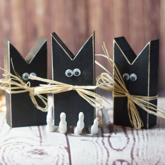 Mini Primitive Black Cat Halloween Decor Halloween Etsy Decoracion De Halloween Artesania De Halloween Porche Halloween