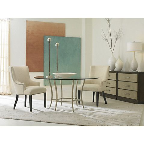 "Sunburst 60"" Round Dining Table, Silver $2,195.00"