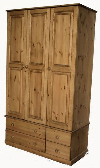 Pine wardrobe with a combination of hanging space and drawers: http://www.pinefurniturecornwall.co.uk/triple-wardrobe~187